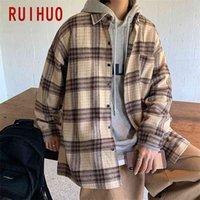 RUIHUO Woolen Men's Jacket Streetwear Clothing Harajuku Vintage s For M-2XL Arrivals 210819