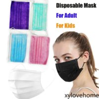 Disposable Face Mask with Elastic Ear Loop for Adult Kids 3 Plys Breathable Dust Air Anti-Pollution Respirator Black White Blue Designer Maks Drop Shipping