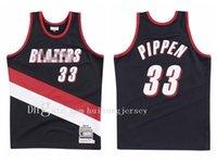 Высокое качество Баскетбольные Мужчины Portlandtrail Blazers Scottie Pippen 33 Road Mitchell Ness 1999-00 Классика лиственной древесины Аутентичные Джерси 01