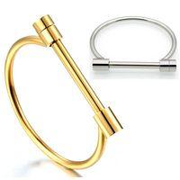 Pulsera de tornillo de grillete plana Pulseras de acero inoxidable de color de acero inoxidable para mujeres Jewelry Pulseiras