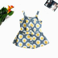 Clothing Sets 2021Summer Cute Girls Suit Lovely Child Sunflower Sleeveless Sling Vest A-Line Skirt 2Pcs Outfits 2-6Y Kids Costume