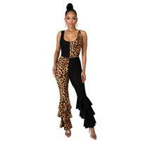 Сексуальная лоскутная леопардовый комбинезон женщины rack rugle Flare брюки спагетти ремешок брюк без спинки выгодные наряды женские