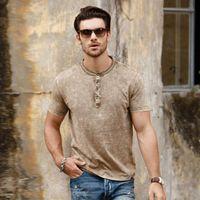 여름 남성 짧은 소매 티셔츠 칼라 100 % 코 튼 빈티지 씻어 고품질 패션 젊은 다재다 티셔츠 C148 티셔츠