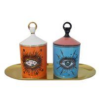 حاملي شمعة كبيرة العين مع غطاء اليدوية السيراميك حامل جرة تخزين جرة ديكور المنزل الإبداعية منزل الديكور