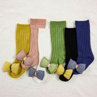 Meias de meninas crianças usam acessórios de bebê arcos meias cute crianças de algodão de algodão knee alto knee criança roupas b6236