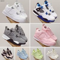 Kids Jumpman 4s Grey Pink IV Collaboration Basketball Bred Shoes Children Outdoor Sports Sneaker Sail Muslin Pure White Black 4 Athletic