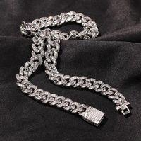 10mm Baguette Cuban Link Chain &Bracelet Mens White Gold Iced Diamond Cubic Zircon Choker Necklace Hip Hop Jewelry 7-22inch