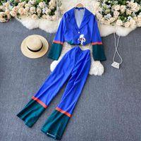 Singreiny Kadınlar Sonbahar Tasarım Baskı Set Düğme Uzun Kollu Uzun Bluz + Yüksek Bel Rahat Gevşek Geniş Bacak Uzun Pantolon İki Parçalı Set 210414