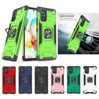 Armor Phone Cases For Samsung Galaxy A02S US EU A32 4G 5G A01 A11 A21 A31 A41 A21S PC +TPU Rugged Cover With CD Grain Car Ring Bracket