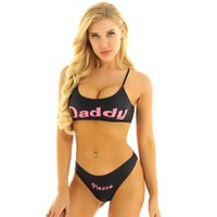Bras Sets Alvivi 1Set Sexy Women Tank Top Thongs Underwear Kit Womens Yes Daddy Printed Lingerie Set Summer Bra Panty Bikini Swimwear