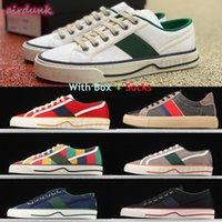 [Kutu ile] 2021 En Kaliteli Tenis 1977 Erkekler Bayan Tuval Rahat Ayakkabılar Yeşil ve Kırmızı Web Şerit Ayakkabı İtalya Işlemeli Lüks Tasarımcılar Kadın Düşük Üst Slip-On Sneaker # 197
