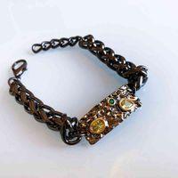 Luxo Designer jóias rocha bracelete de cadeia de espessura preto 2 tom Olivine CZ SS tamanho Cool grande link pulseira para mulheres / homens