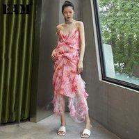 Casual Dresses [EAM] Women Pink Irregular Pattern Printed Long Dress V-Neck Sleeveless Loose Fit Fashion Tide Spring Autumn 2021 1DD8640