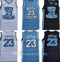 En Kaliteli Erkekler NCAA Formalar Kuzey Carolina Tar Topuklu 23 Michael Jersey UNC College Siyah Beyaz Mavi Basketbol Gömlek Nefes Boyutu S-2XL