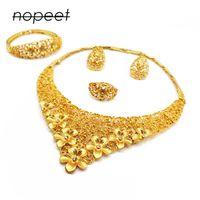 Dubai jóias de ouro conjuntos africanos presentes de casamento nupcial para mulheres sauditas colar árabe bracelete brincos anel set collares jóias 1012 T2