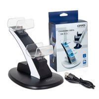 Dobe LED Carregador Cradle Stand Elementos Leve Gamepad Dock para PS5 PS4 Slim Pro Joystick Sem Fio Bluetooth Game Controlador Dual USB Charging Station DHL