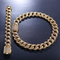 12 мм Miami Cuban Link цепочка ожерелье браслеты для мужчин Bling Hip Hopced out out out out diamond золото серебро рэпер цепи женские ювелирные изделия 507 q2