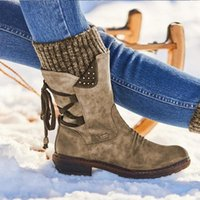 Enplei Snow Boots Woman Winter Warm Shoes PU Leather Ladies Mid Calf Platform Booties Size 35-43