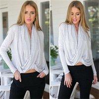 Bayan Bayanlar Uzun Kollu Düzensiz Tops Gevşek Ince Casual Gömlek Bluz Bluz ABD Stok