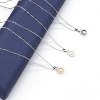 Chains Natural Pearl Necklace Bread Shape Inlaid Crystal Copper Contains Boxes Stainless Steel Long Chain 45CM For Women Jewelry Gift