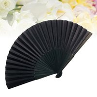 Party Favor Man Fabric Folding Fan Simple Practical Lightweight For Male Men (Black, With Bag Pattern)