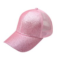 Ponytail Hat Fluorescence Sequin Anti-sweat Breathable Mesh Favor Caps Adjustable Anti-uv Hats Sport Baseball Cap Hhc7556