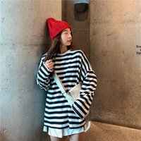 Harajuku Striped Tshirt Women Black White Ulzzang Casual Oversized T Shirt Femme Tee Top Spring Fall Long Sleeve O-Neck Clothing Women's T-S
