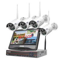 Hiseeu 8ch نظام الدوائر التلفزيونية المغلقة اللاسلكية 1536P 1080P NVR WIFI في الهواء الطلق 3MP AI IP كاميرا نظام الأمن مراقبة الفيديو شاشة LCD عدة