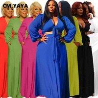 CM.YAYA Artı Boyutu S-5XL Seksi Streetwear kadın Set Yay Düğüm Kırpma Üstleri Maxi Etekler Eşleştirme Set Eşofman Iki Parçalı Set Outfit 210407