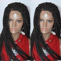 Pelucas sintéticas 26 pulgadas 13x4 Cordón frontal de cordones Peluca trenzada para mujeres con pelo Bebé trenzas Color negro