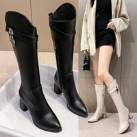 Boots 2021 Fashion Women Autumn Winter Over The Knee Heels Quality Leather Long Comfort Square Botines Mujer Thigh High