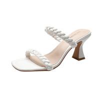 2022 Luxury high Heels Leather sandal suede mid-heel 7cm women designer sandals summer beach sexy wedding shoes Size 34-40 with box