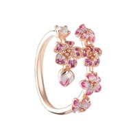 Cluster Rings Authentic 925 Sterling Silver Peach Blossoms Flower Fashion Ring For Women Bead Charm Gift DIY Jewelry