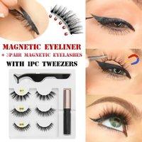 False Eyelashes 3 Pairs Magnetic Natural Liquid Eyeliner& & Tweezer Long Thick Cilios Postiço