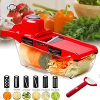 Multi Vegetable Fruit Mandoline Slicer Cutter Grater Potato Carrot Cheese Peeler Cutting Kitchen Accessories 6 Stainless Steel Blade NHF6968