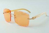 2021 Nuevo Estilo Diseñadores de gama alta Gafas de sol 3524022, Lente de corte de alta calidad Cuernos de búfalos blancos naturales Gafas, Tamaño: 58-18-140mm