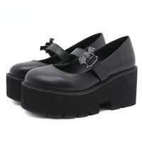 Dress Shoes Vintage Lolita Bat Platform Mary Jane Women Block Heels Gothic Punk Style Black Pumps Plus Size 43 Drop Ship