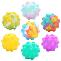 3D Silicon Ball Squishy Sensory Bubbles Fidget Pops Cellphone Straps Finger Popping Simple Dimples Decompression Push Toys Antistress Autism ADD ADHD Reliever Toy