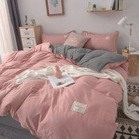 Постельные принадлежности розовое постельное белье набор одеяло одеяло крышка наволочки плоские листы ins царица полный король сплошной цвет