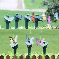 Solar Power Dancing Flies Butterflies Garden Decorations Fluttering Vibration Fly Hummingbird Flying Birds Yard Funny Toys WLL668