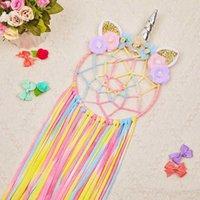 Adorável menina vento sonho cor unicórnio flor vento sino sino apanhador de sonho ornamentos creative home dormitório quarto decoração