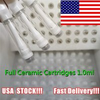1.0ml Full Ceramic Vape Cartridge Screw Tops Atomizers USA STOCK Packaging Delta 8 D9 Thick Oil Carts Lead Free Empty Vapes Pen 510 Thread Cartriges fast delivery