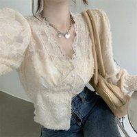 Women's Blouses & Shirts Blouse Women Shirt V-neck Lace Long-Sleeved Top 2021 Spring Blusas Mujer De Moda