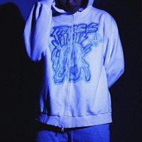 Men's Hoodies & Sweatshirts Harajuku Zipper Men Korean Fashion Graffiti Cartoon Printed Street Jacket Y2k White Oversize Manga Larga