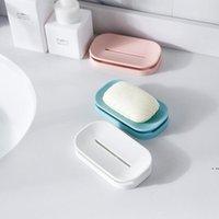 Творческие мыльные блюда Ванная комната красочные держатель мыла двойной сливной лоток хороший помощник для вашей семьи HWD6431