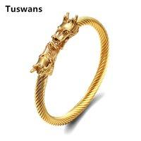 Bangle Fine Design Dragon Head Bangles For Men High Quality 316L Stainless Steel Gold Black Bracelets Bangles(TSYLB009)