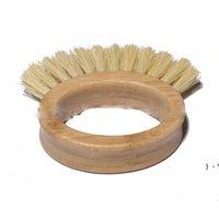الخيزران الطبيعي مقبض خشبي تنظيف فرشاة الإبداعية البيضاوي الدائري سيزال غسل الصحون فرشاة لوازم المطبخ المنزلية 10 * 3 سنتيمتر OWA5214