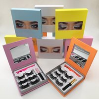 3Pairs Eyelashes Set 25mm 3D Mink Lashes Black White Glue Colorful Lash Package Box with Mirror