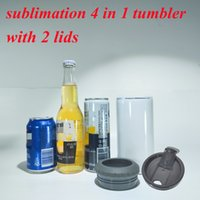 sublimation 16oz 4 in 1 tumbler 2 lids can cooler white Stainless Steel straight tumbler blank trvel mug keep drink cold