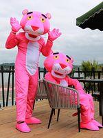 Pantera rosa mascote adulto traje leopardo extravagante carnaval anime festa de aniversário